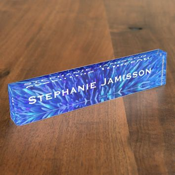 Acrylic Desk Nameplate, Blue Abstract Name Plate