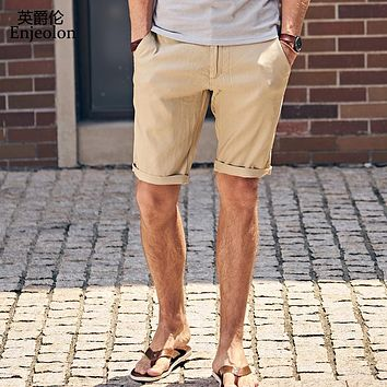 Summer New Casual Shorts Men Linen Sim solid black khaki Available Knee length High Quality