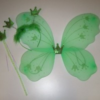 3 Pc Sparkle Crown Fairy Wing Set Green