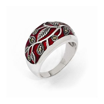 Sterling Silver Marcasite & Red Epoxy Ring