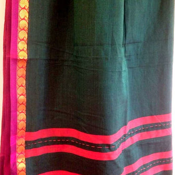 Green and pink dakshini saree
