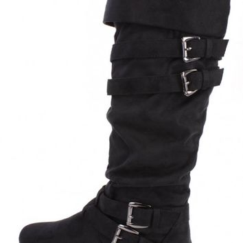Black Slouchy Buckle Strappy Boots Faux Suede