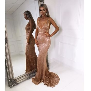 Sexy V Neck Sequined Party Dress Floor Length Sleeveless Maxi Dress Backless Dress Champagne Gold Black lue Silver XXL