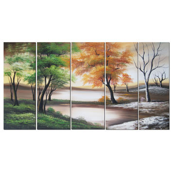 Grey & Green Forest Artistry Landscape Canvas Wall Art Oil Painting