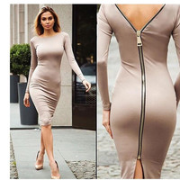 Hot Sale Sexy Backless Split One Piece Dress [4918660356]