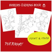 PDF coloring book of Estonian berries, activity book, workbook, coloring ebook, coloring cheets