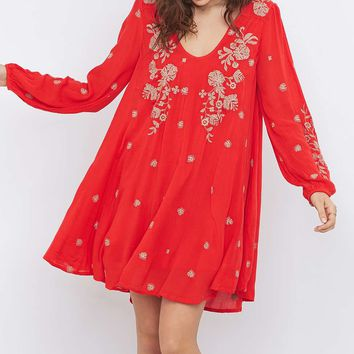 Free People Sweet Tennessee Embroidered Red Mini Dress - Urban Outfitters
