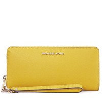 Michael Kors Jet Set Tavel Leather Continental Wallet - Sunflower