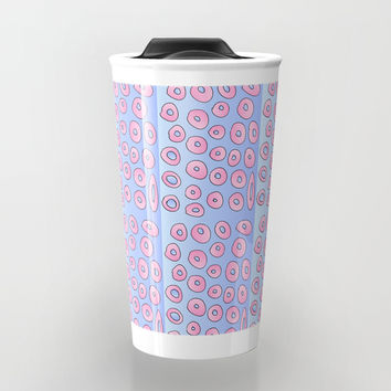 pink polka dot 2- polka dot,pattern,dot,polka,circle,disc,point,abstract,minimalism Travel Mug by oldking