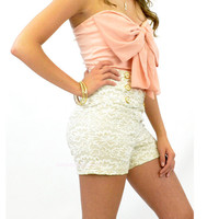 Lacey Grace High Waist Cream Sailor Shorts