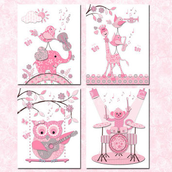 Music nursery art pink grey baby girl room wall decor kids decoration toddler artwork shower poster elephant owl giraffe guitar violin drums