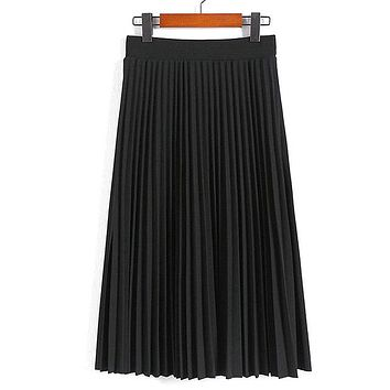 High Waist Pleated Solid Color Ankle Length Skirt