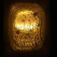 Silhouette Dandelion paper cut Light box Night light Accent Lamp Christmas gift wedding birthday gift idea shadow box