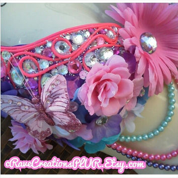 Hot Pink EL Wire and Beautiful Blossoms Custom Flower Daisy Bra Lingerie Bustier Brasier Rave Bra with Optional Matching Tutu