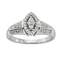 I Promise You Diamond Marquise Frame Engagement Ring in Platinaire (1/3 ct. T.W.) (White)