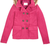 Hooded Faux Fur Trim Peacoat