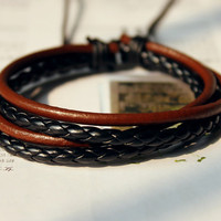 Spring Gift Fashion Stylish Multilayer Black Braid cuff Weaved Brown Leather tube Wrap Bracelet M-17