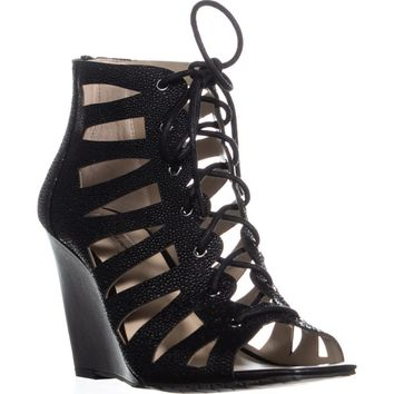 I35 Silviah Lace Up Strappy Wedge Sandals, Black, 9 US