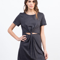 Twist Front T-Shirt Dress - Large