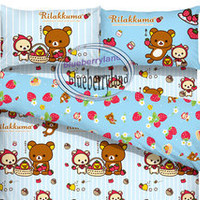 San-X Rilakkuma Bedding Set Duvet Cover Fitted sheet set BLU - Hong Kong