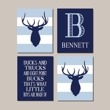 Baby Boy Nursery Decor Deer Antler Rustic Nursery Country Nursery Quote Monogram Set of 4 Prints Boy Playroom Boy Bathroom Hunting Bedroom