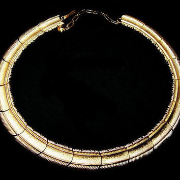"Trifari Choker Necklace Signed Brushed Gold Metal Linked Bars Ext Chain 15"" Vintage 1960s"