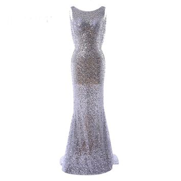Luxury party sequin dress tulle scoop beading mermaid prom dress to the floor