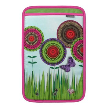 Whimsical Summer Flowers and Butterfly Sleeve For MacBook Air