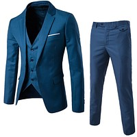 GODLIKE  Men's new business casual three-piece suit, best man wedding suit, young fashion slender suit