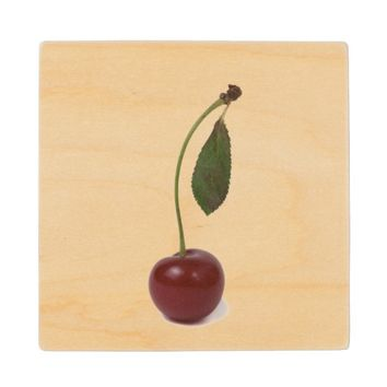 Red cherry berry wooden coaster