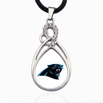 Wimpy kid Carolina Panthers Necklace Best Gift for /Women/Girl/Men/Mom Clear Crystal Link Chain Necklace Jewelry 2pcs/lot