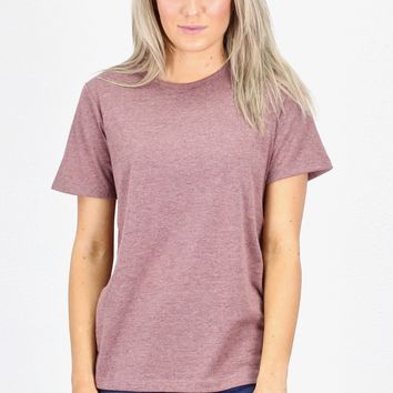 Basic Short Sleeve Heathered Tee {Marsala}