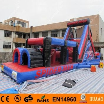 Free Shipping Spiderman inflatable obstacle course with CE blower and storage bag