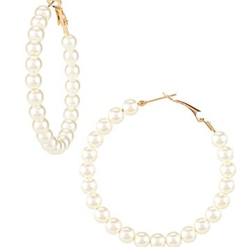 Anna & Ava Pearl Hoop Earrings | Dillards