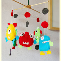 Decorative Nursery Mobile Happy colors monster theme by hingmade