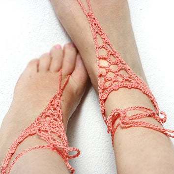 Barefoot sandles, Freeform crochet barefoot sandals, Beach Sandals, Hippie shoes, Bohemian Foot Jewelry, Belly dance, Steam punk, Yoga
