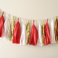 Red White and Gold Tassel Garland- Valentines Day, Party Decor, Birthday Party, Weddings, Nursery, Baby Shower, & Photo Props