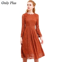 ONLY PLUS 2017 Autumn Hollow Out Lace Dress Women Party Dresses Elegant A-line Long Sleeve Orange Sweet O-Neck Female Vestidos