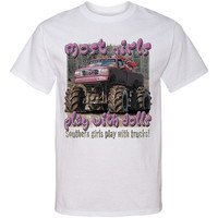 SOUTHERN GIRLS Play With Trucks Screen Print T SHIRT Screenprint Tee Girls Mud Riding Tshirt...Free Shipping!!