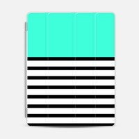 Tiffany Mint Turquoise Black and White Stripes Pattern iPad 3/4 case by Rex Lambo | Casetify