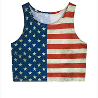 Blusa Feminina 2016 New Summer Sexy Women Sleeveless Tops American USA Flag Print Stripes Tank Top for Woman Short Shirt T2956