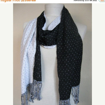 Double-layered Scarf / Two Sided Scarf /Black - White / Black scarf / White scarf / long scarf