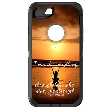 DistinctInk™ OtterBox Defender Series Case for Apple iPhone or Samsung Galaxy - Philippians 4:13 - I can do everything through Him who gives me strength