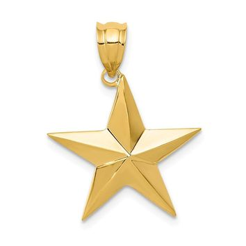 14k Yellow Gold Polished Nautical Star Pendant, 20mm (3/4 inch)