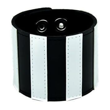 Black and White Stripe Wristband Leather Bracelet