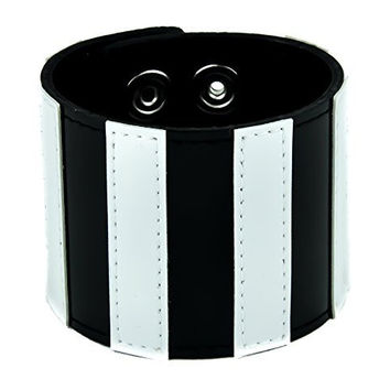 "Black & White Stripe Wristband Leather Bracelet 2-1/2"" Wide"