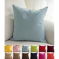 """TangDepot Cotton Solid Throw Pillow Covers, 16"""" x 16"""" , Light Blue"""