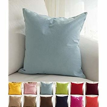 "TangDepot Cotton Solid Throw Pillow Covers, 16"" x 16"" , Light Blue"