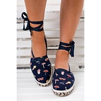 Seeking Sunshine Not Rated Graphic Sandals (Navy)