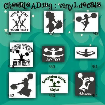 CHEERLEADING vinyl decals - 46-54 - car stickers - cheerleader sticker - car decal - custom vinyl decals - personalized stickers